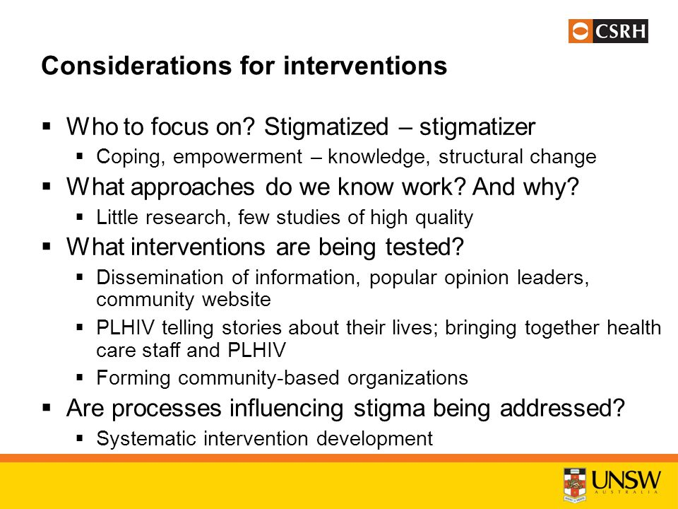 Considerations for interventions  Who to focus on.