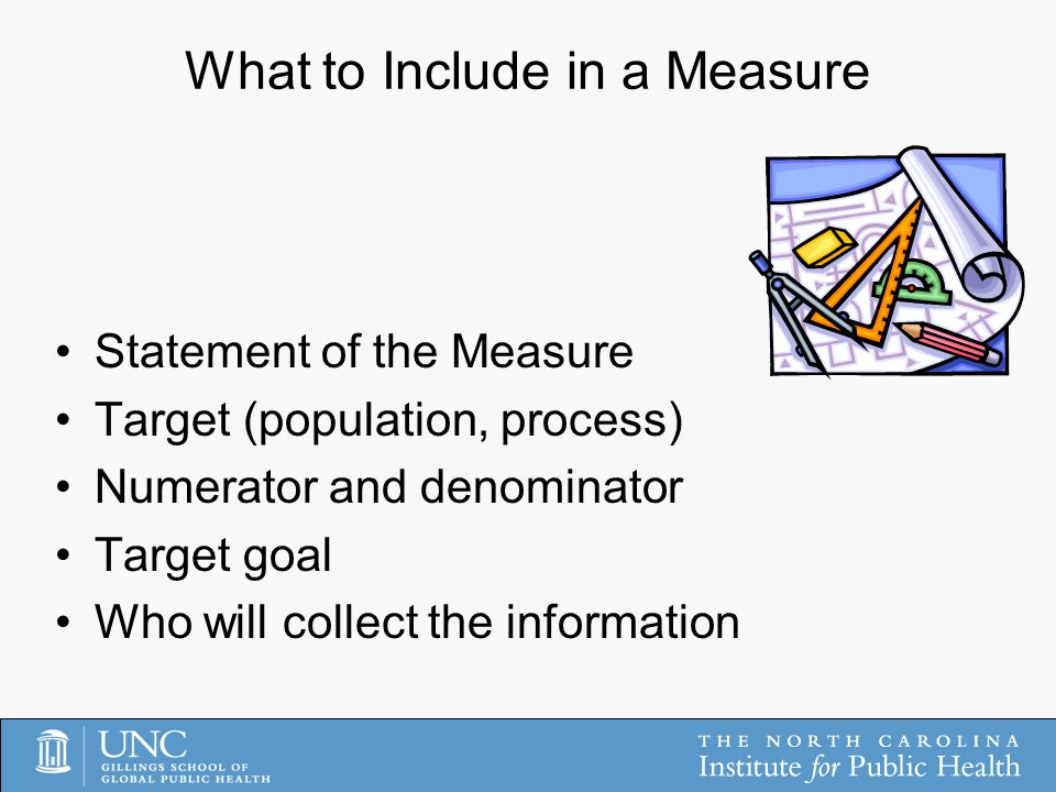 What to Include in a Measure Statement of the Measure Target (population, process) Numerator and denominator Target goal Who will collect the information