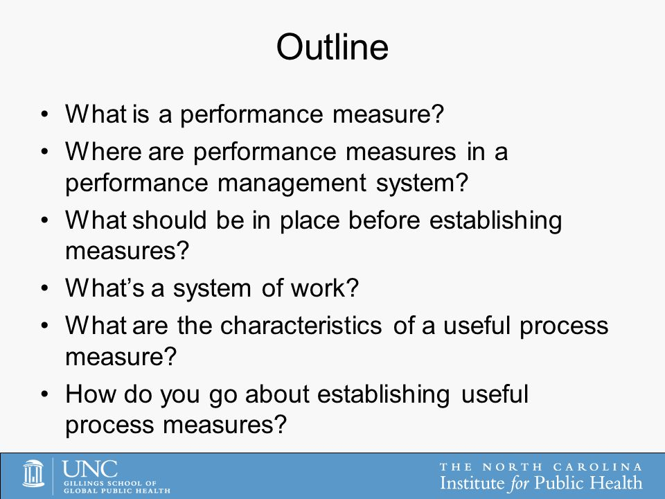 Outline What is a performance measure.