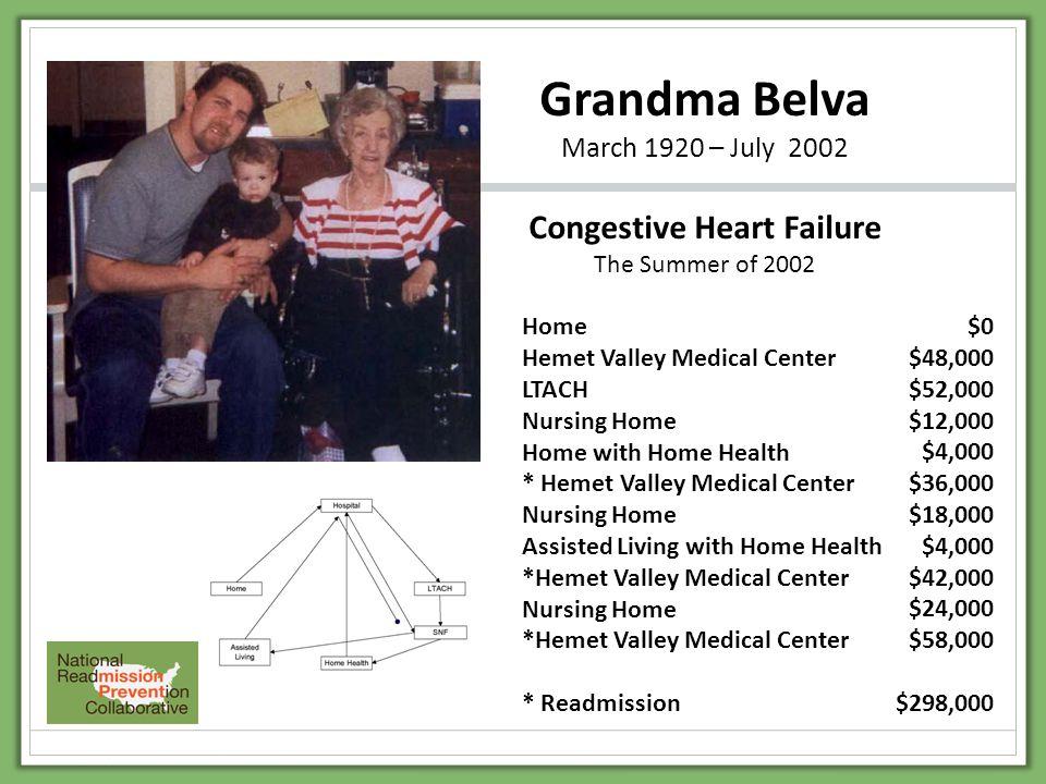Grandma Belva March 1920 – July 2002 Congestive Heart Failure The Summer of 2002 Home Hemet Valley Medical Center LTACH Nursing Home Home with Home He