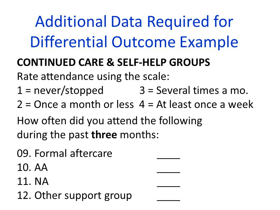 CONTINUED CARE & SELF-HELP GROUPS Rate attendance using the scale: 1 = never/stopped 3 = Several times a mo. 2 = Once a month or less 4 = At least onc