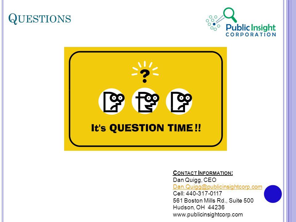 Q UESTIONS C ONTACT I NFORMATION : Dan Quigg, CEO Dan.Quigg@publicinsightcorp.com Cell: 440-317-0117 561 Boston Mills Rd., Suite 500 Hudson, OH 44236 www.publicinsightcorp.com