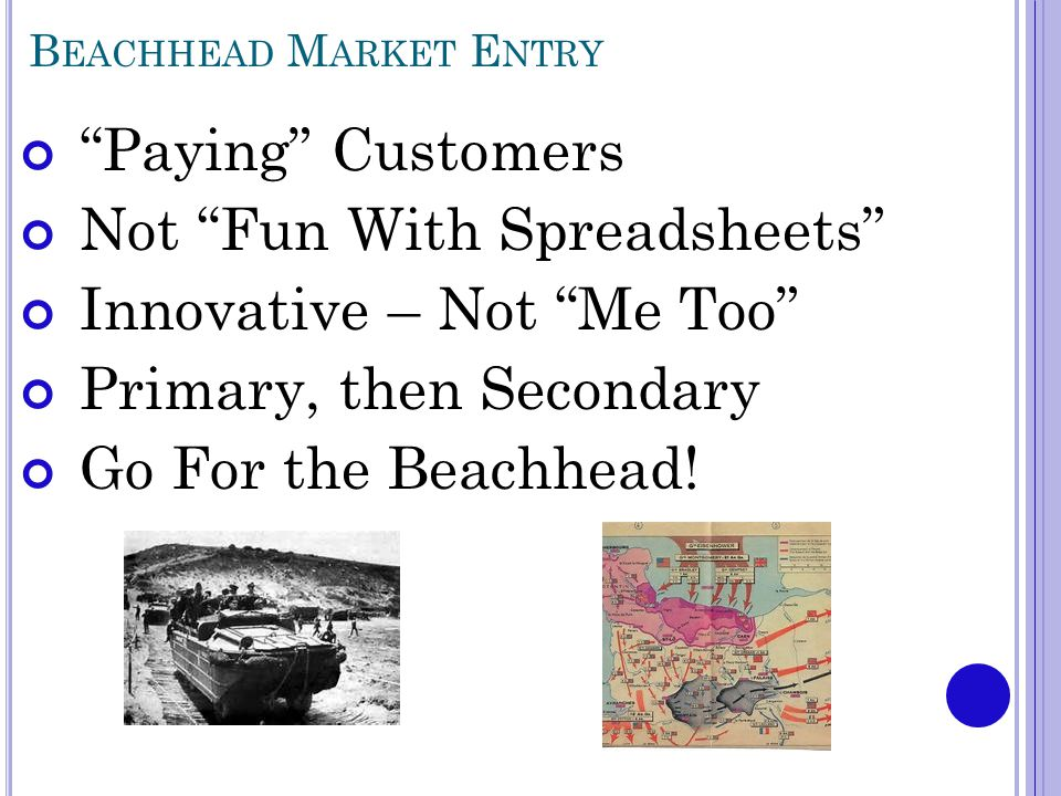 B EACHHEAD M ARKET E NTRY Paying Customers Not Fun With Spreadsheets Innovative – Not Me Too Primary, then Secondary Go For the Beachhead!