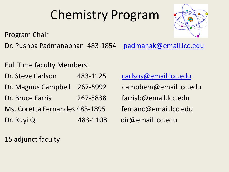 Chemistry Program Program Chair Dr.