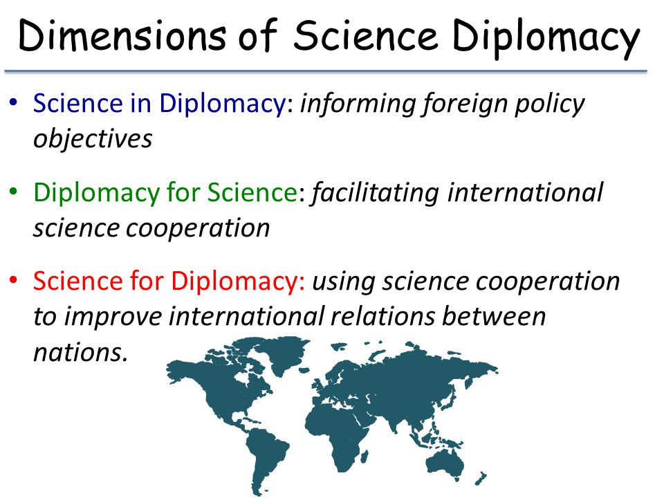 Dimensions of Science Diplomacy Science in Diplomacy: informing foreign policy objectives Diplomacy for Science: facilitating international science co