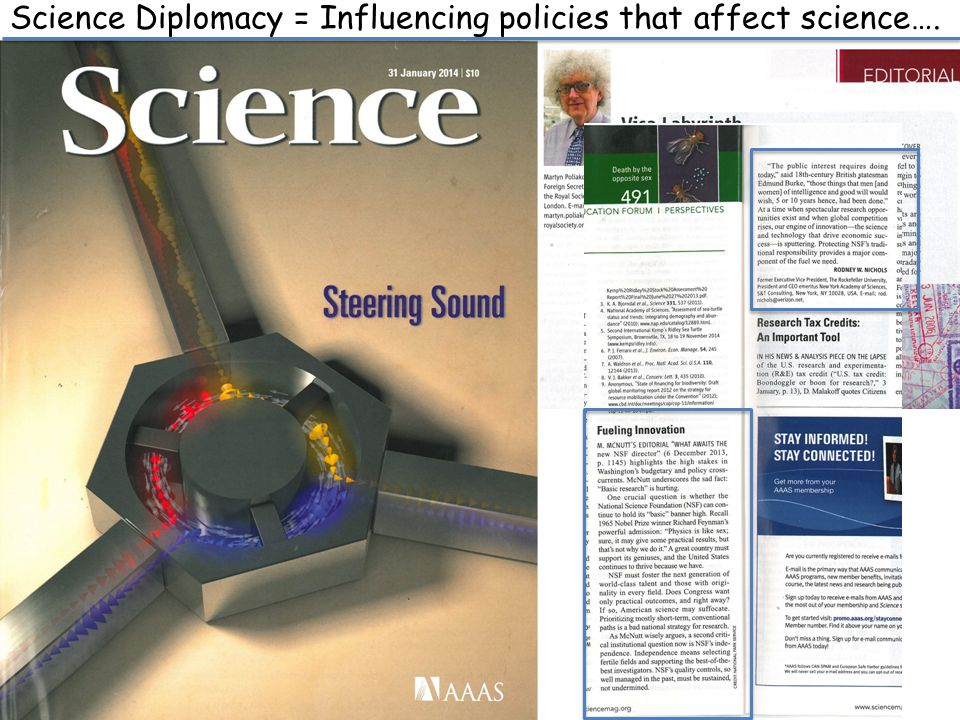 Science Diplomacy = Influencing policies that affect science….