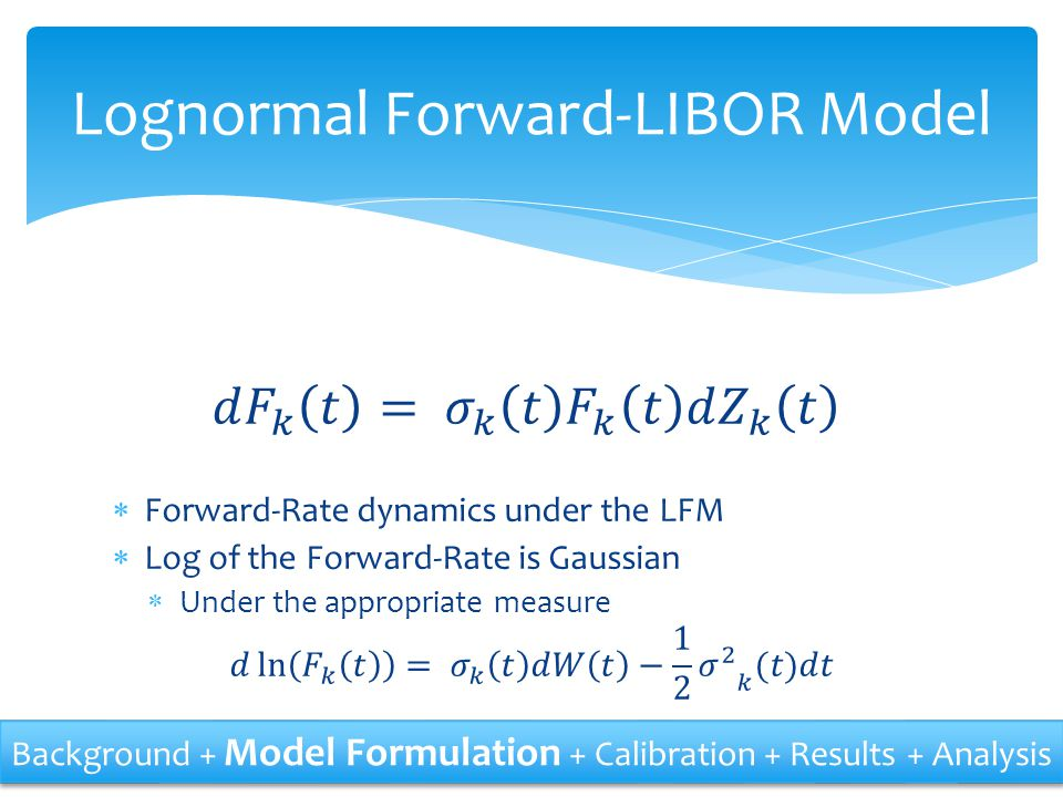 Lognormal Forward-LIBOR Model Background + Model Formulation + Calibration + Results + Analysis