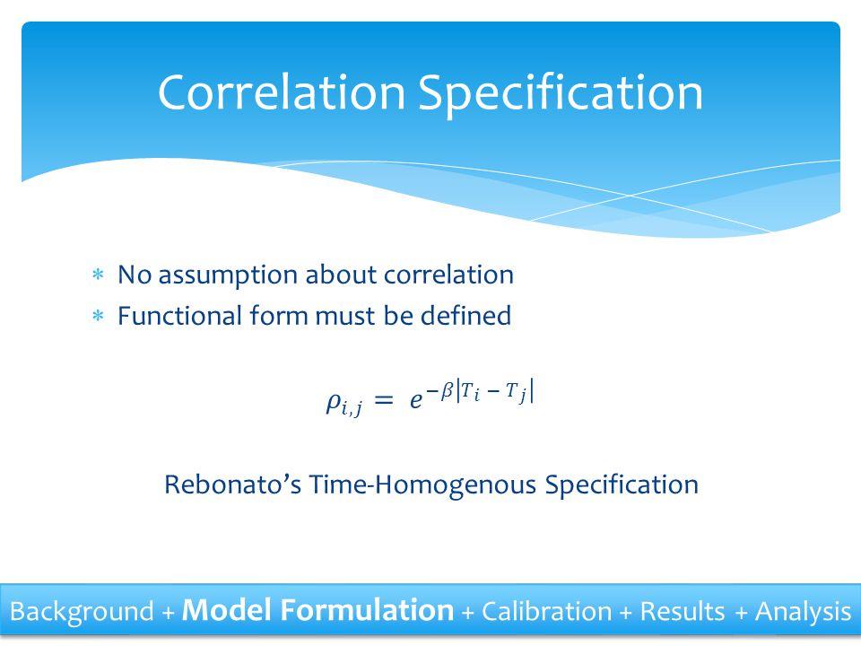 Correlation Specification Background + Model Formulation + Calibration + Results + Analysis
