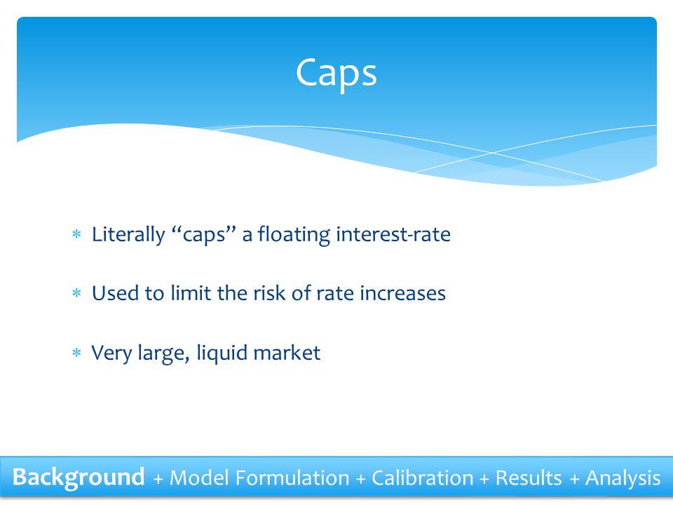 Formulation 7Rebonato 6.21a - - - Constraints Background + Model Formulation + Calibration + Results + Analysis