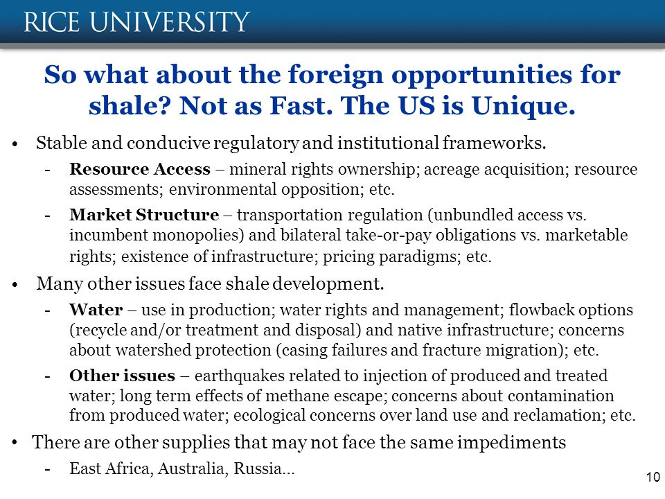 So what about the foreign opportunities for shale.