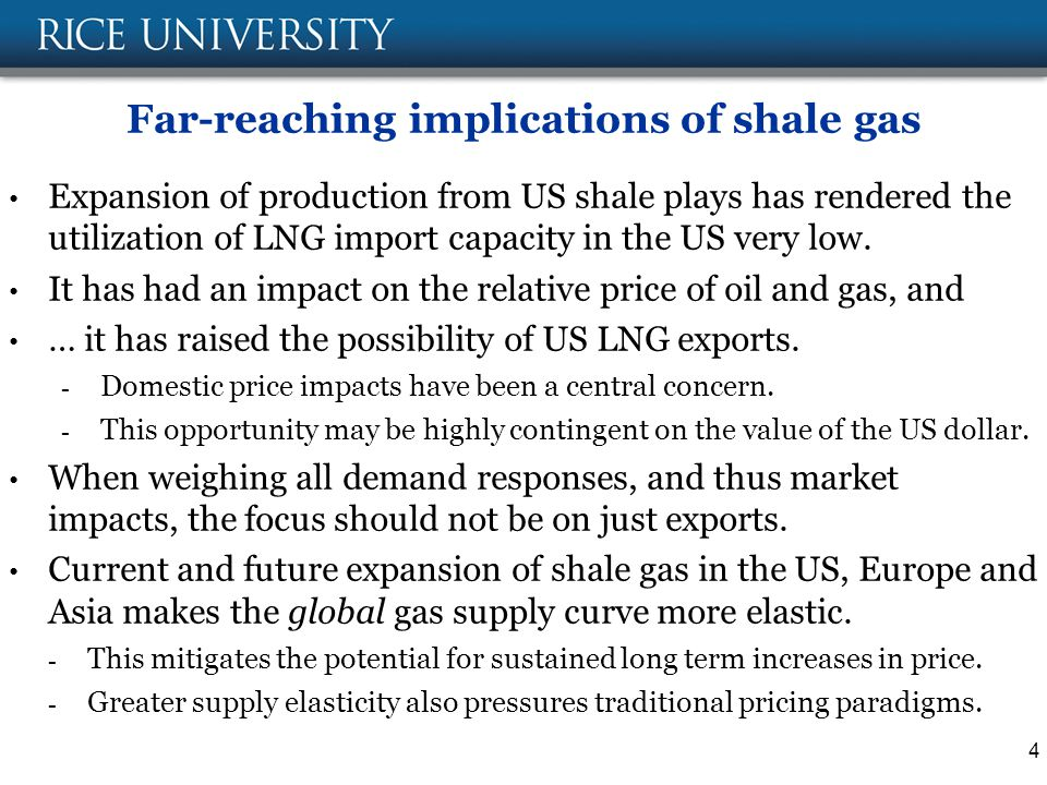 Far-reaching implications of shale gas Expansion of production from US shale plays has rendered the utilization of LNG import capacity in the US very low.
