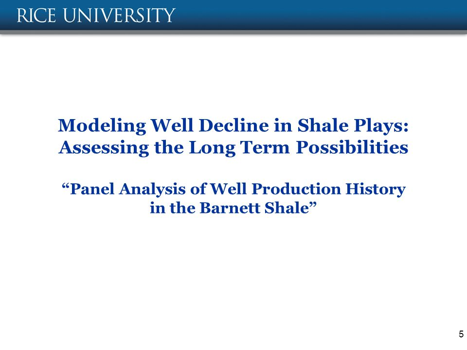 Modeling Well Decline in Shale Plays: Assessing the Long Term Possibilities Panel Analysis of Well Production History in the Barnett Shale 5