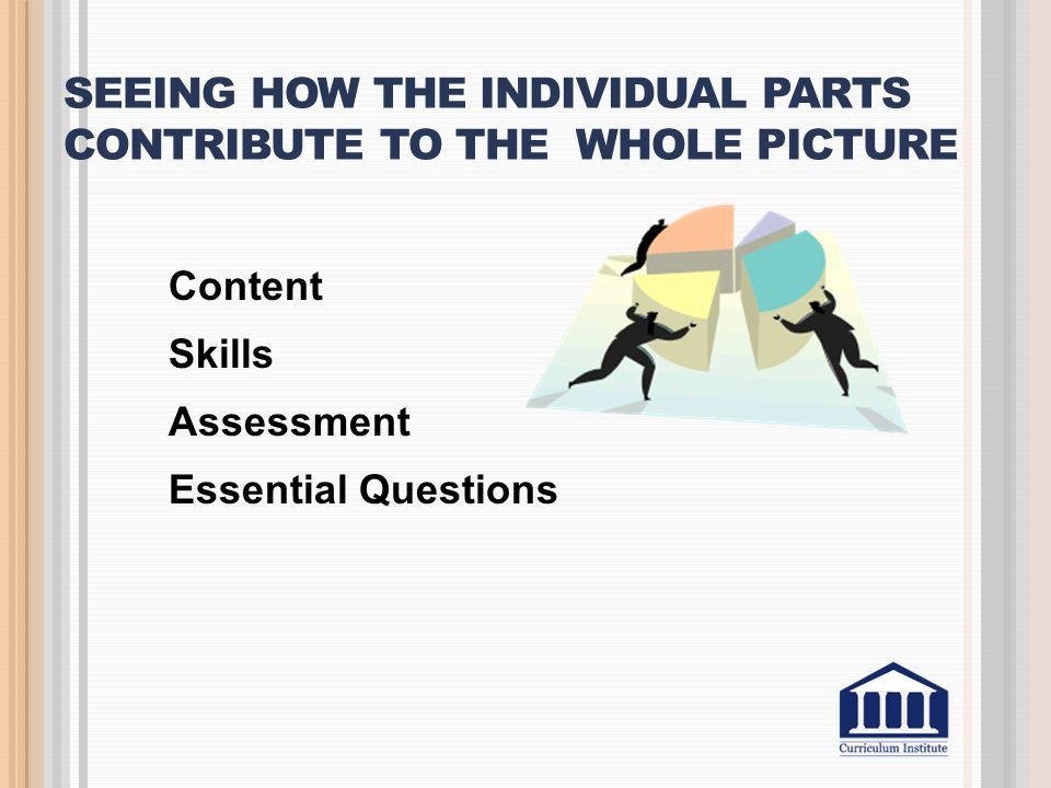 SEEING HOW THE INDIVIDUAL PARTS CONTRIBUTE TO THE WHOLE PICTURE Content Skills Assessment Essential Questions