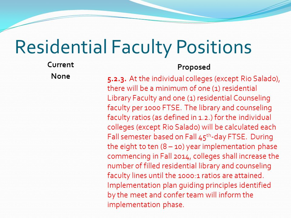 Residential Faculty Positions Current None Proposed 5.2.3.