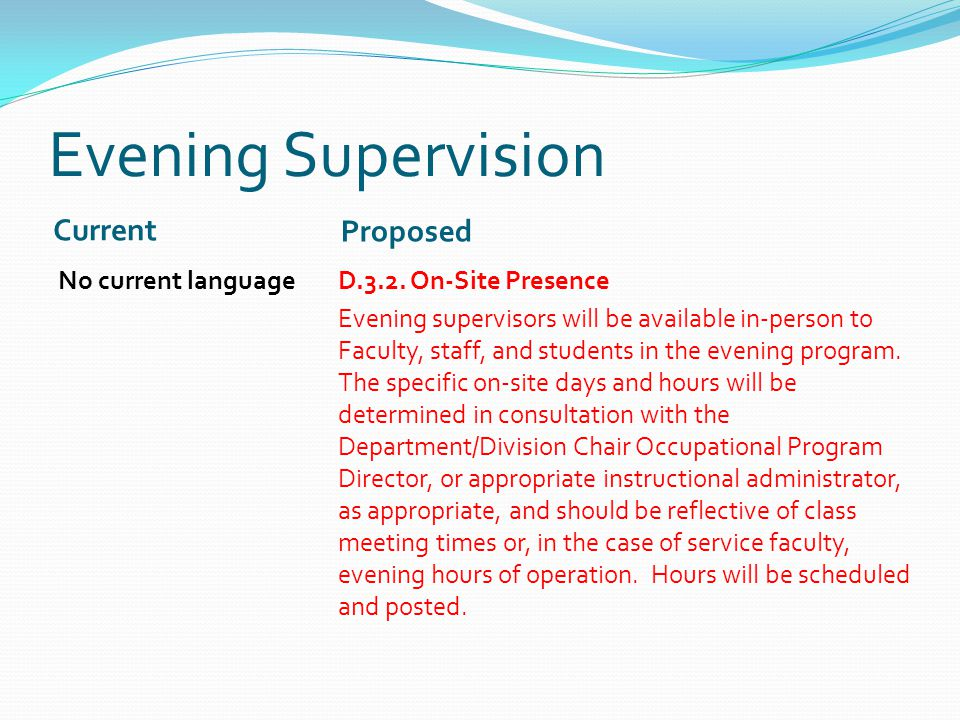 Evening Supervision Current Proposed No current languageD.3.2.