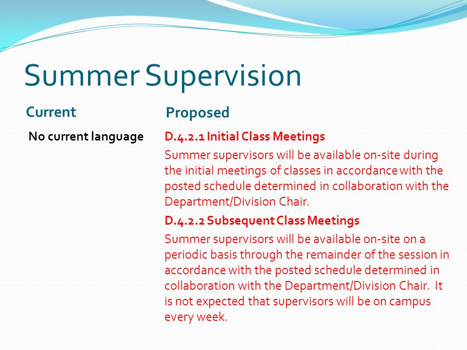Summer Supervision Current Proposed No current languageD.4.2.1 Initial Class Meetings Summer supervisors will be available on-site during the initial meetings of classes in accordance with the posted schedule determined in collaboration with the Department/Division Chair.