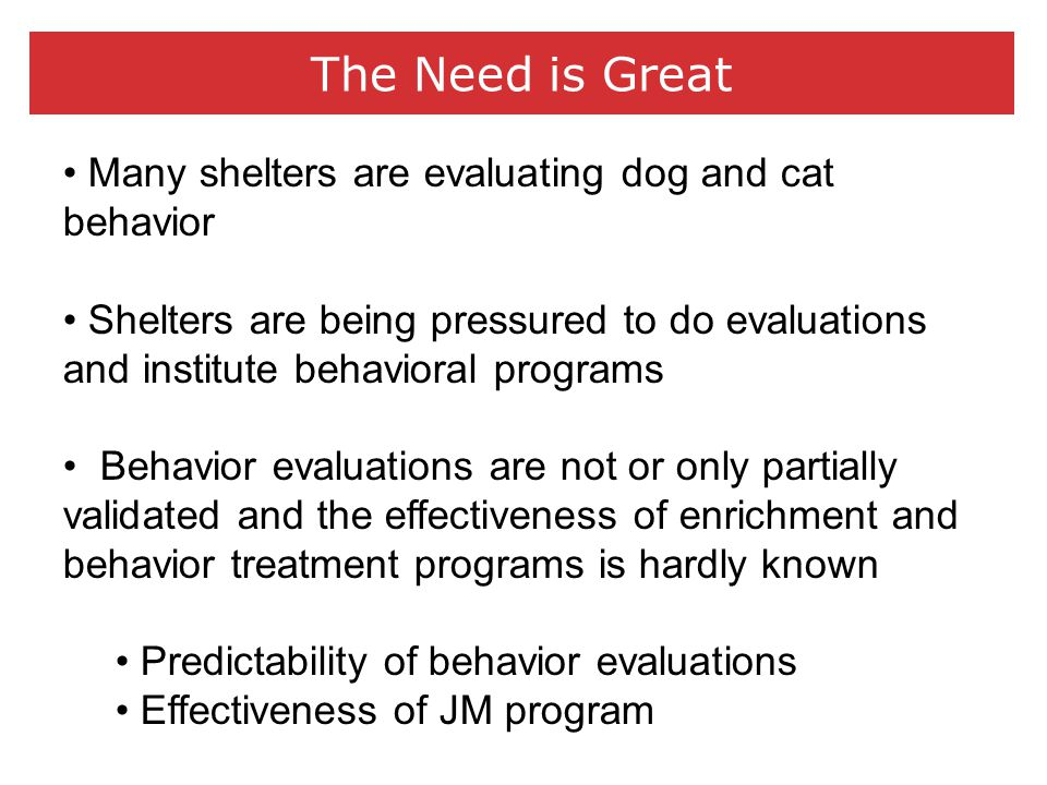 The Need is Great Many shelters are evaluating dog and cat behavior Shelters are being pressured to do evaluations and institute behavioral programs Behavior evaluations are not or only partially validated and the effectiveness of enrichment and behavior treatment programs is hardly known Predictability of behavior evaluations Effectiveness of JM program