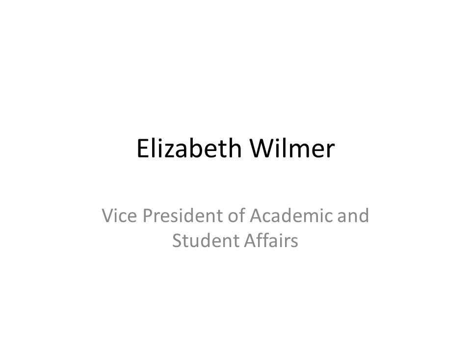 Elizabeth Wilmer Vice President of Academic and Student Affairs