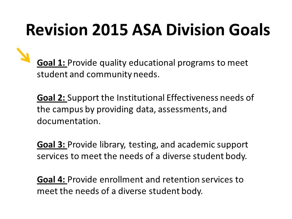 Revision 2015 ASA Division Goals Goal 1: Provide quality educational programs to meet student and community needs.
