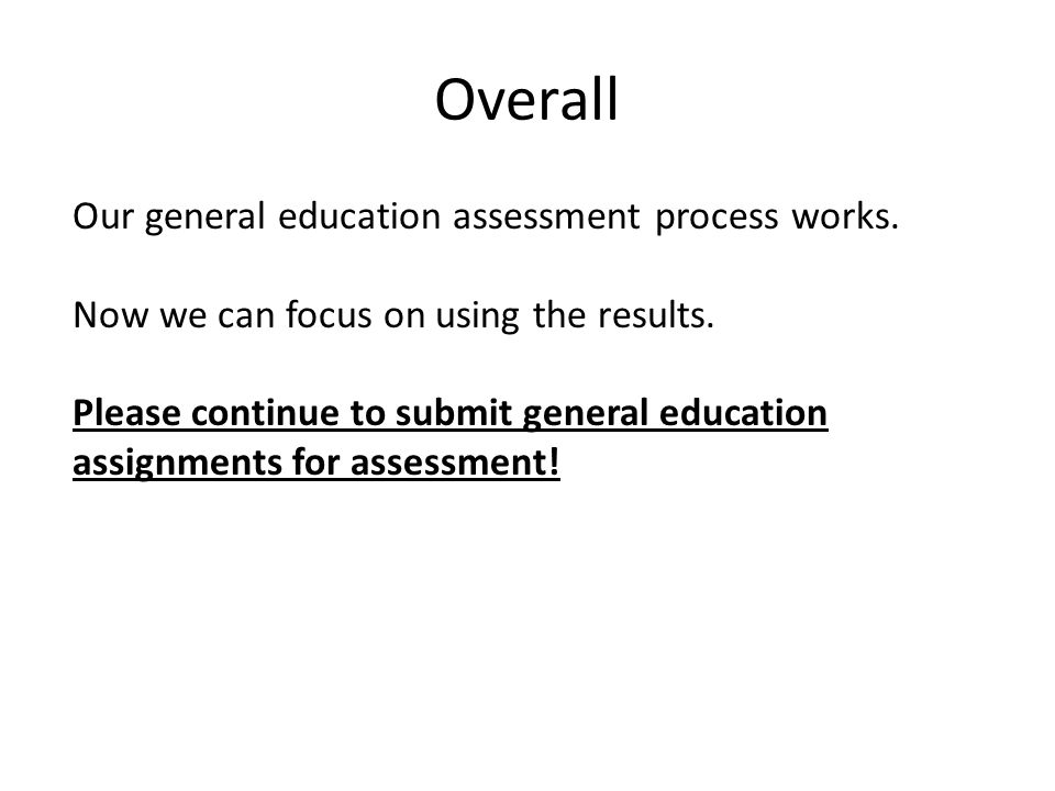 Overall Our general education assessment process works.