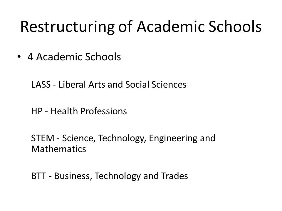 Restructuring of Academic Schools 4 Academic Schools LASS - Liberal Arts and Social Sciences HP - Health Professions STEM - Science, Technology, Engineering and Mathematics BTT - Business, Technology and Trades