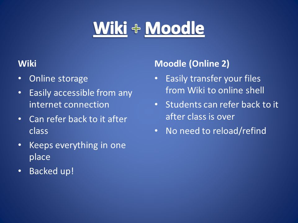 Wiki Online storage Easily accessible from any internet connection Can refer back to it after class Keeps everything in one place Backed up.