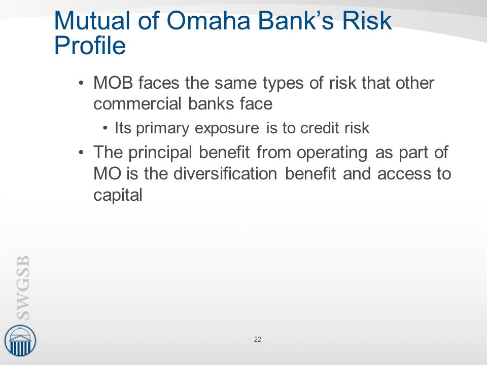 Mutual of Omaha Bank's Risk Profile MOB faces the same types of risk that other commercial banks face Its primary exposure is to credit risk The princ