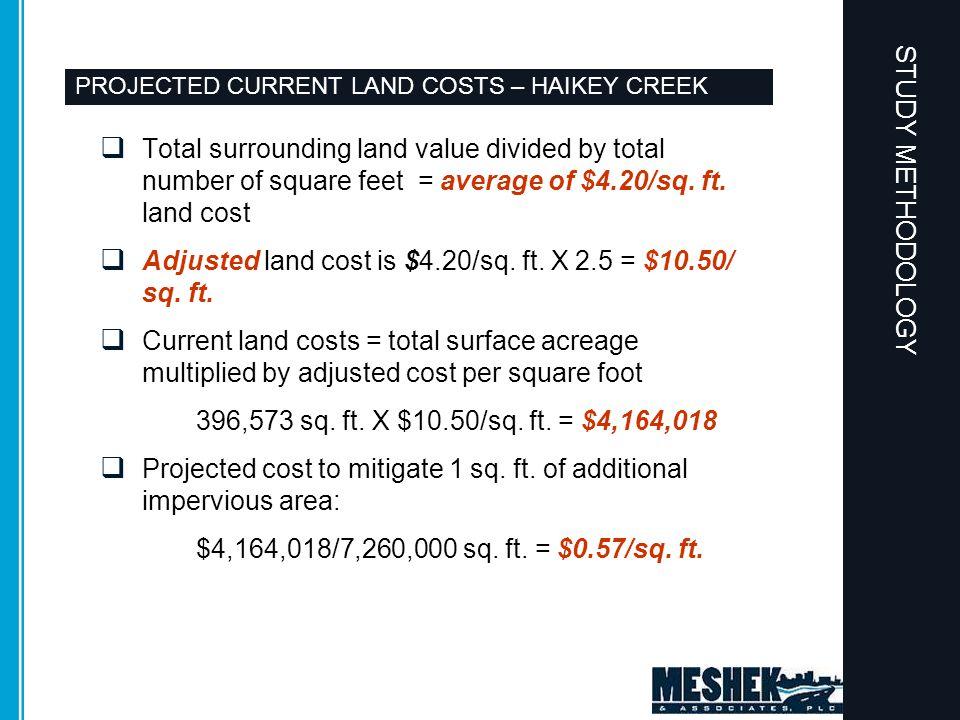 PROJECTED CURRENT LAND COSTS – HAIKEY CREEK  Total surrounding land value divided by total number of square feet = average of $4.20/sq. ft. land cost