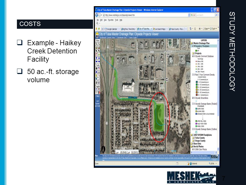 CONSTRUCTION COSTS  Example - Haikey Creek Detention Facility  50 ac.-ft. storage volume STUDY METHODOLOGY 7