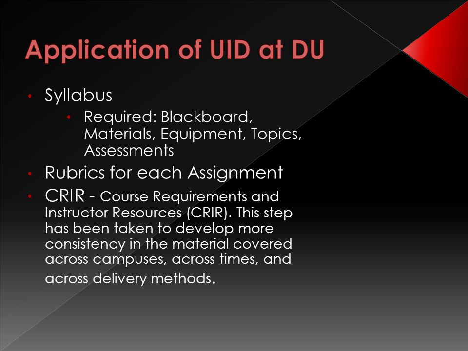 Syllabus Required: Blackboard, Materials, Equipment, Topics, Assessments Rubrics for each Assignment CRIR - Course Requirements and Instructor Resources (CRIR).