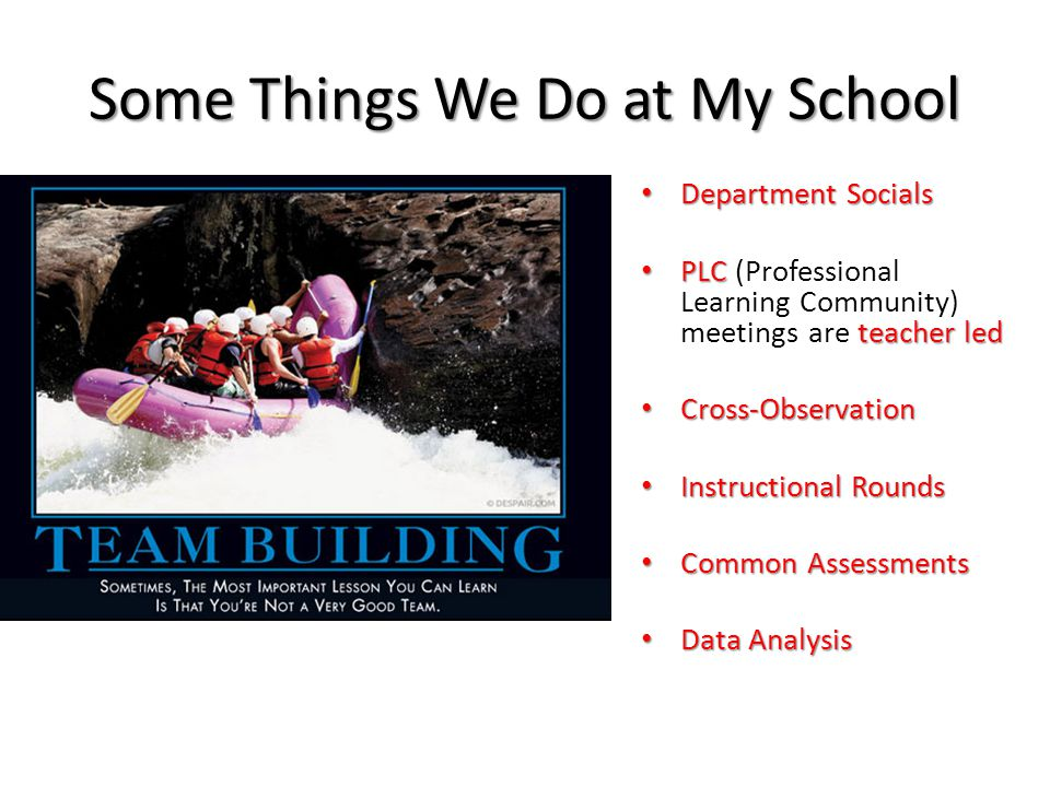 Some Things We Do at My School Department Socials Department Socials PLC teacher led PLC (Professional Learning Community) meetings are teacher led Cross-Observation Cross-Observation Instructional Rounds Instructional Rounds Common Assessments Common Assessments Data Analysis Data Analysis