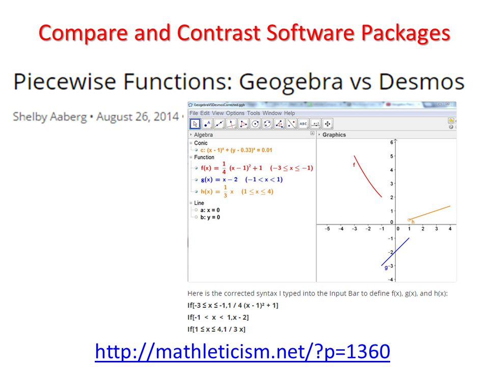 Compare and Contrast Software Packages http://mathleticism.net/ p=1360