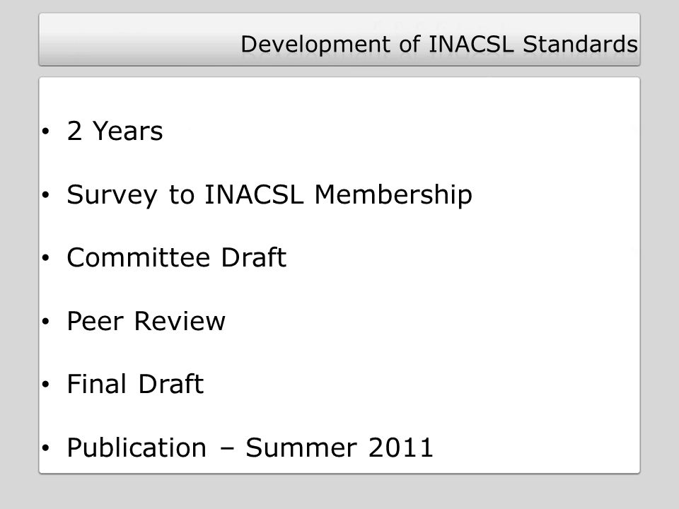 2 Years Survey to INACSL Membership Committee Draft Peer Review Final Draft Publication – Summer 2011
