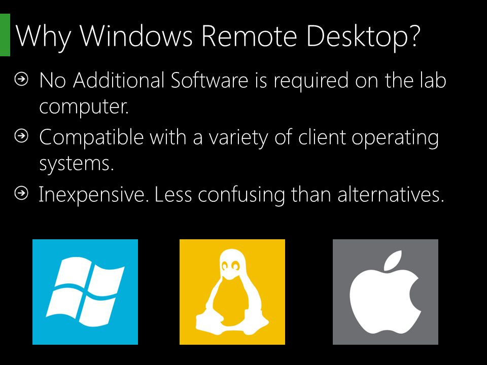 Why Windows Remote Desktop. No Additional Software is required on the lab computer.