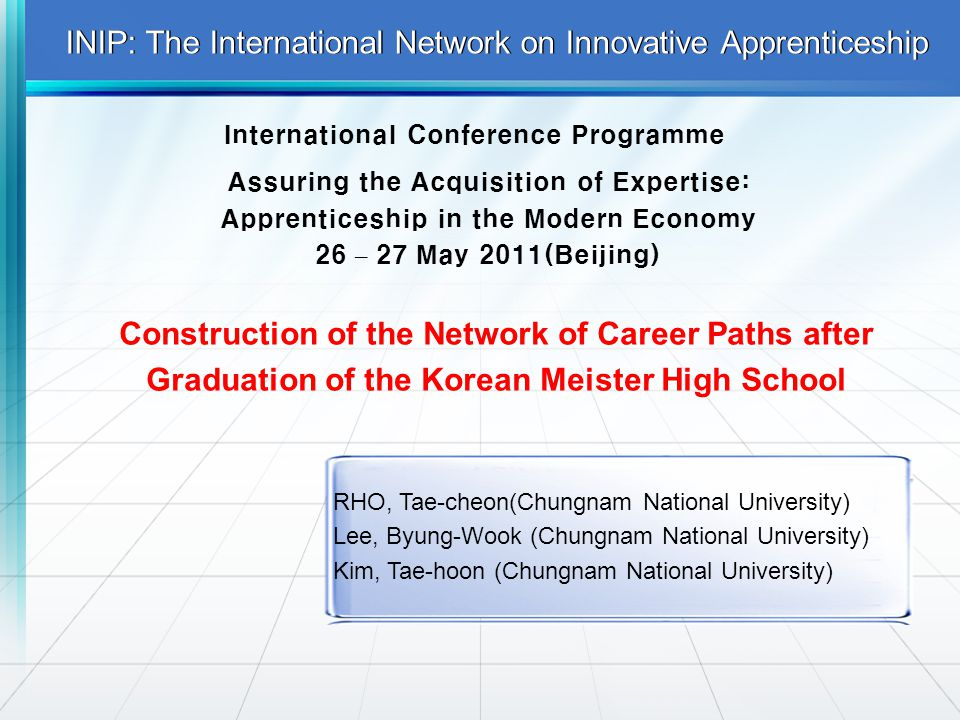 INIP: The International Network on Innovative Apprenticeship International Conference Programme Assuring the Acquisition of Expertise: Apprenticeship in the Modern Economy 26 – 27 May 2011(Beijing) Construction of the Network of Career Paths after Graduation of the Korean Meister High School RHO, Tae-cheon(Chungnam National University) Lee, Byung-Wook (Chungnam National University) Kim, Tae-hoon (Chungnam National University)