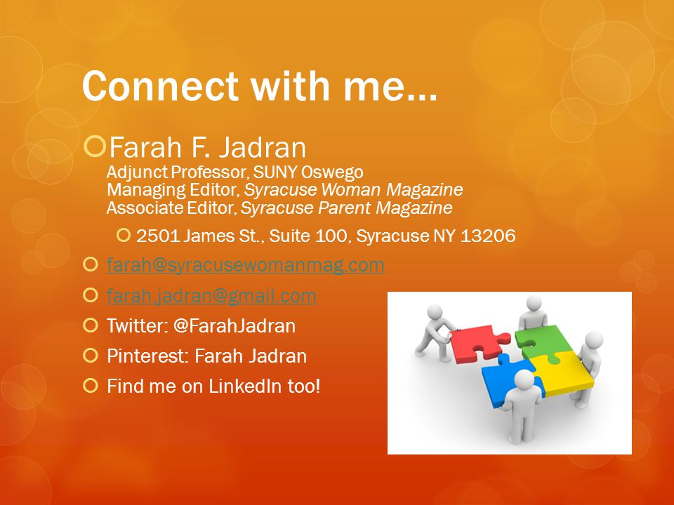Connect with me…  Farah F.
