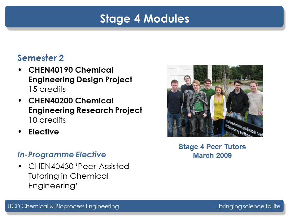 ...bringing science to lifeUCD Chemical & Bioprocess Engineering Stage 4 Modules Semester 2 CHEN40190 Chemical Engineering Design Project 15 credits CHEN40200 Chemical Engineering Research Project 10 credits Elective In-Programme Elective CHEN40430 'Peer-Assisted Tutoring in Chemical Engineering' Stage 4 Peer Tutors March 2009