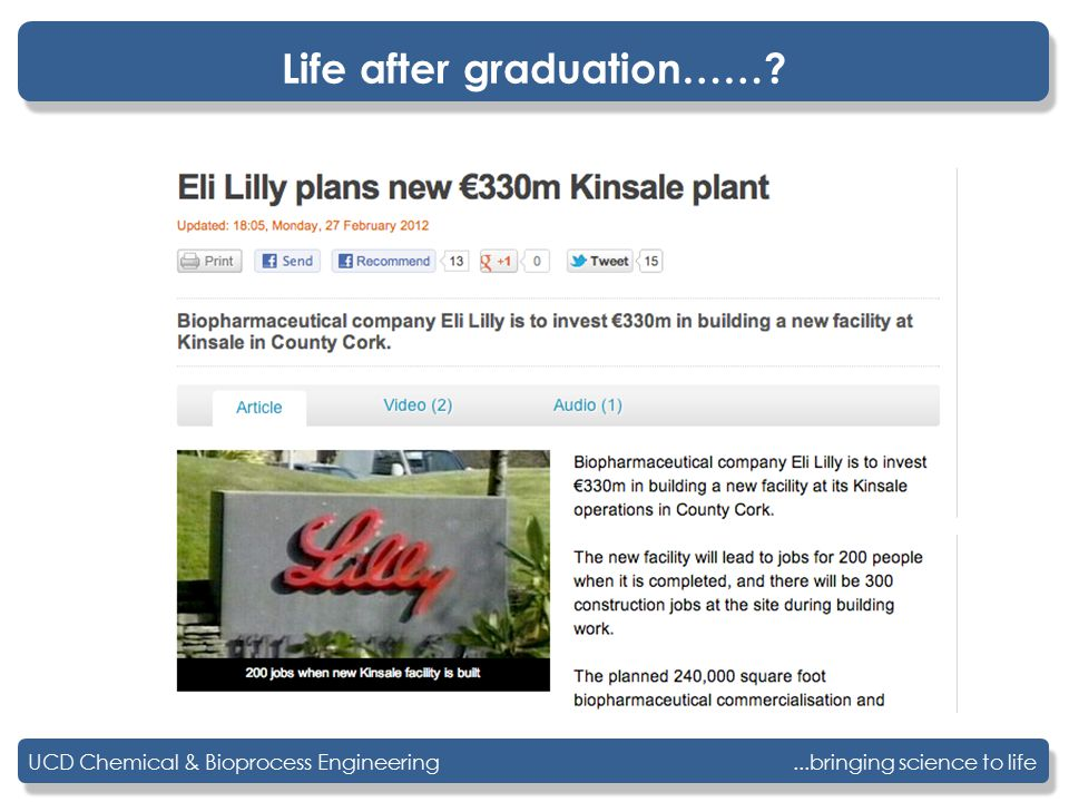 ...bringing science to lifeUCD Chemical & Bioprocess Engineering Life after graduation……?