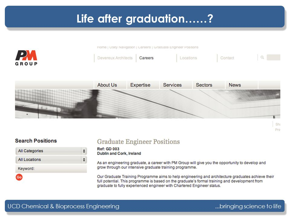 ...bringing science to lifeUCD Chemical & Bioprocess Engineering Life after graduation……