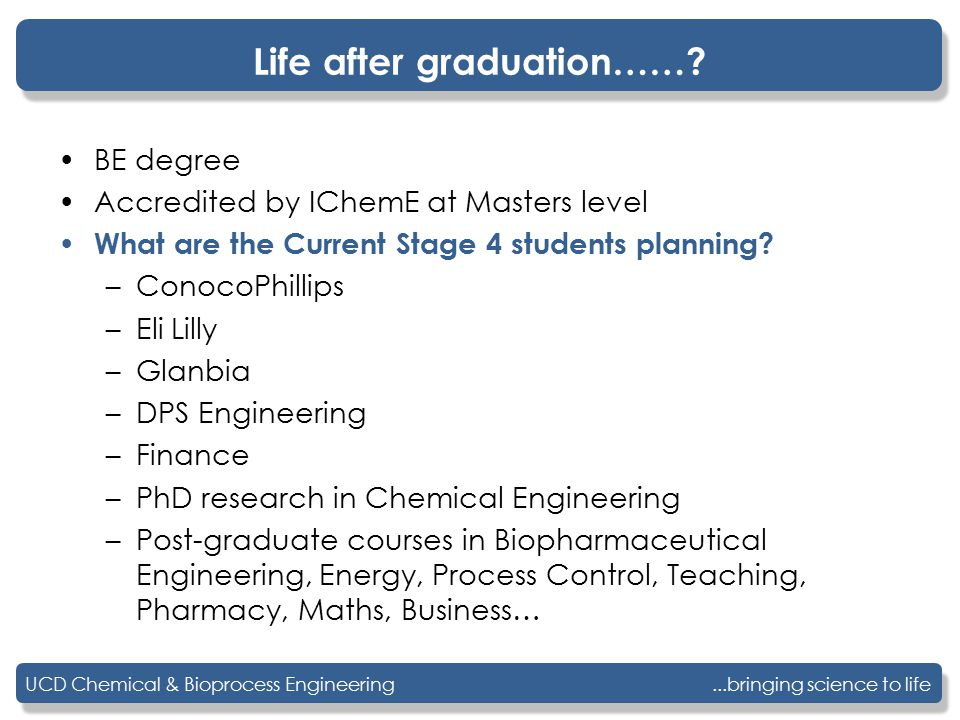 ...bringing science to lifeUCD Chemical & Bioprocess Engineering Life after graduation……? BE degree Accredited by IChemE at Masters level What are the
