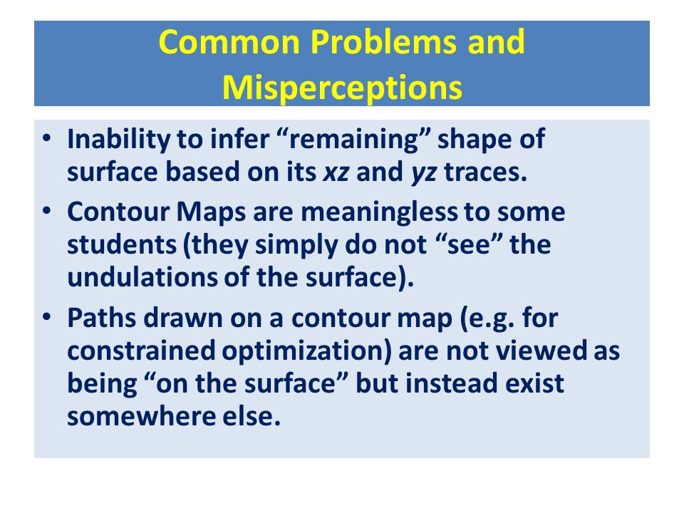 """Common Problems and Misperceptions Inability to infer """"remaining"""" shape of surface based on its xz and yz traces. Contour Maps are meaningless to some"""