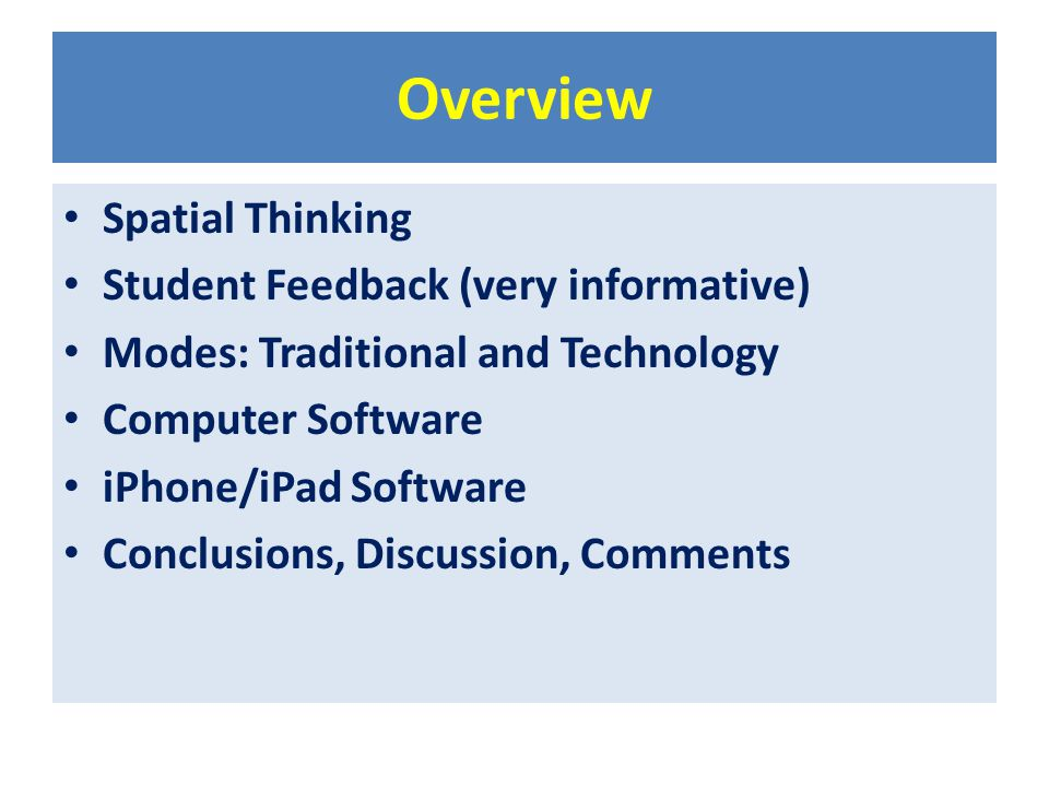 Overview Spatial Thinking Student Feedback (very informative) Modes: Traditional and Technology Computer Software iPhone/iPad Software Conclusions, Di