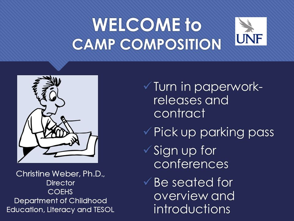 WELCOME to CAMP COMPOSITION Turn in paperwork- releases and contract Pick up parking pass Sign up for conferences Be seated for overview and introductions Christine Weber, Ph.D., Director COEHS Department of Childhood Education, Literacy and TESOL