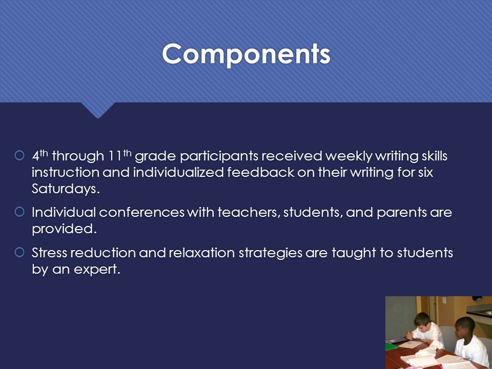 Components  4 th through 11 th grade participants received weekly writing skills instruction and individualized feedback on their writing for six Sat
