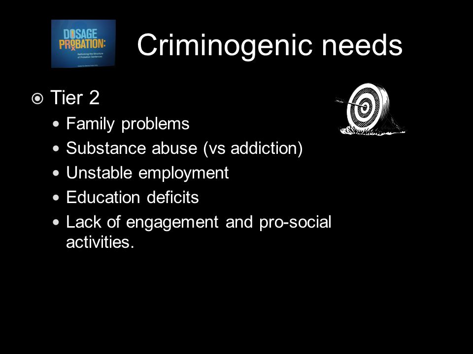 Criminogenic needs  Tier 2 Family problems Substance abuse (vs addiction) Unstable employment Education deficits Lack of engagement and pro-social activities.