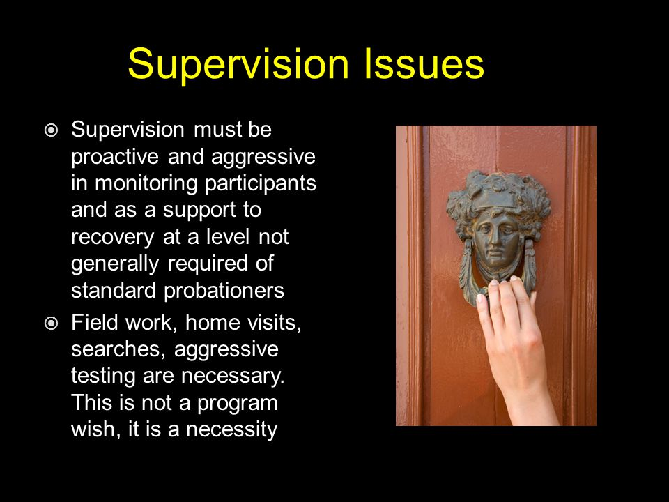 Supervision Issues  Supervision must be proactive and aggressive in monitoring participants and as a support to recovery at a level not generally required of standard probationers  Field work, home visits, searches, aggressive testing are necessary.