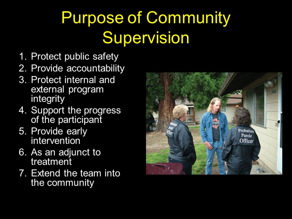 Purpose of Community Supervision 1.Protect public safety 2.