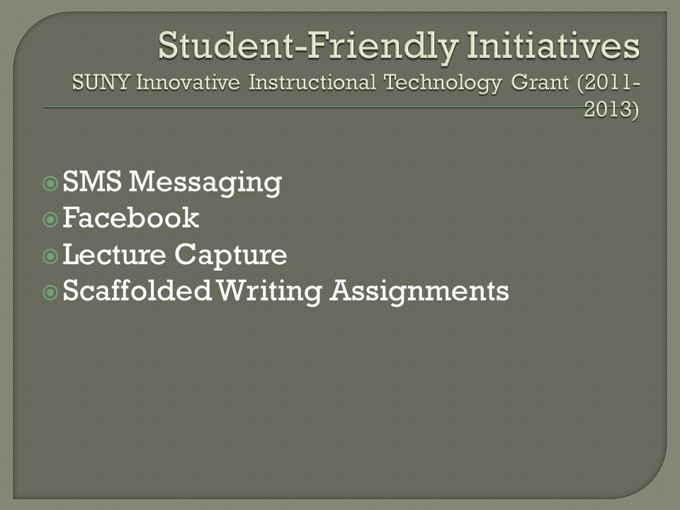  SMS Messaging  Facebook  Lecture Capture  Scaffolded Writing Assignments