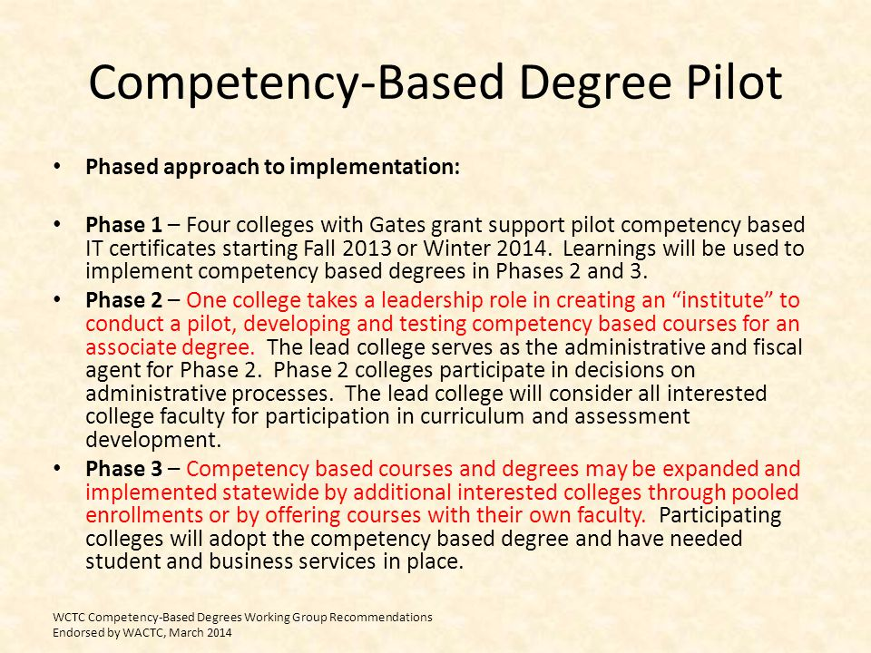 Competency-Based Degree Pilot Phased approach to implementation: Phase 1 – Four colleges with Gates grant support pilot competency based IT certificat