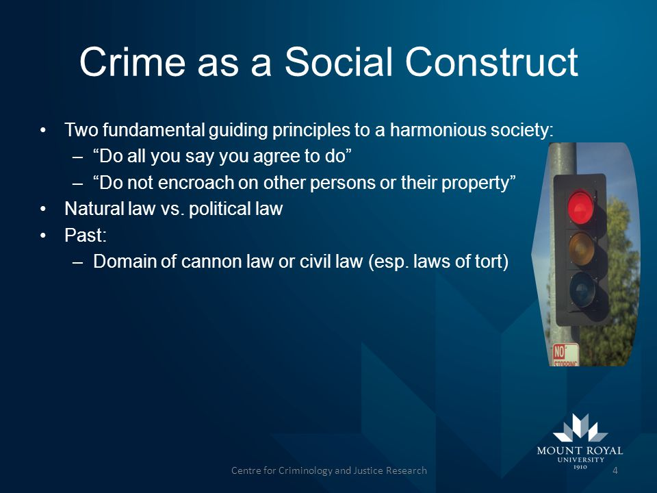 Crime as a Social Construct Two fundamental guiding principles to a harmonious society: – Do all you say you agree to do – Do not encroach on other persons or their property Natural law vs.